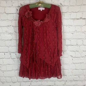 Pretty Angel Lace Gothic Red Blouse Small